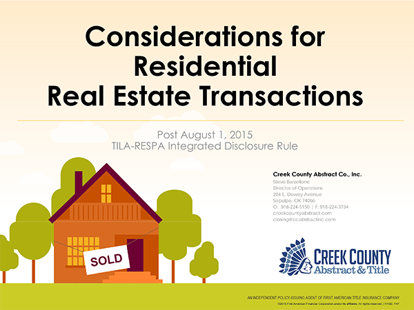 considerations for real estate trnsactions